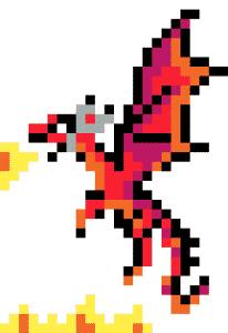 Dragon pixel art vignette fond blanc
