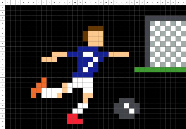 Griezmann football tir au but pixel art grille fond noir