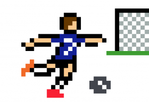 Griezmann football tir au but pixel art vignette fond blanc