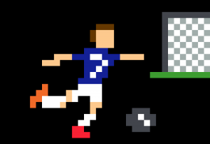 Griezmann football tir au but pixel art vignette fond noir