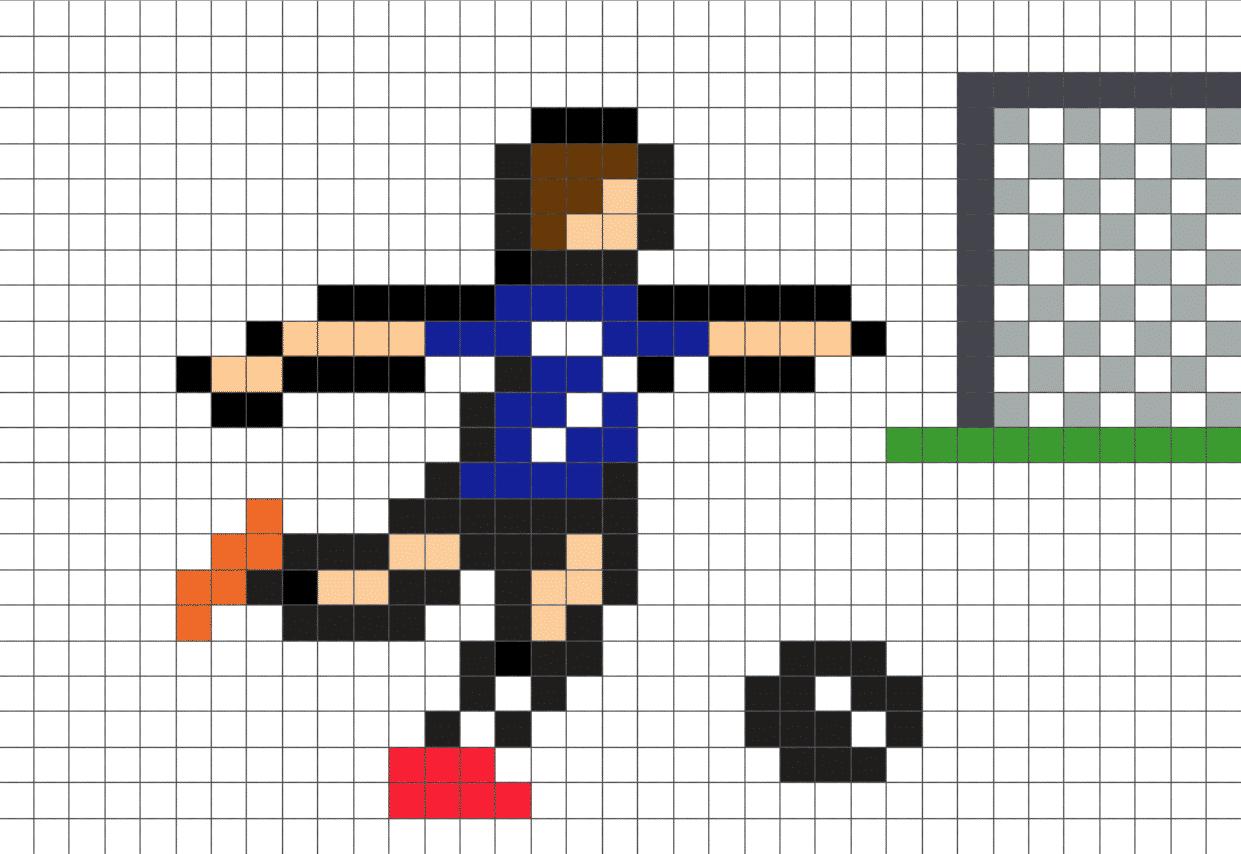 pixel art football la manufacture du pixel. Black Bedroom Furniture Sets. Home Design Ideas