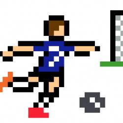 Griezmann football tir au but pixel art vignette fond blanc