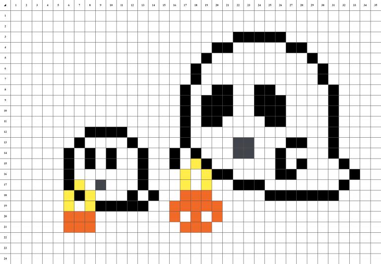 Fantômes d'Halloween pixel art grille Fond Blanc