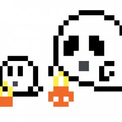 Fantômes d'Halloween pixel art vignette Fond Blanc