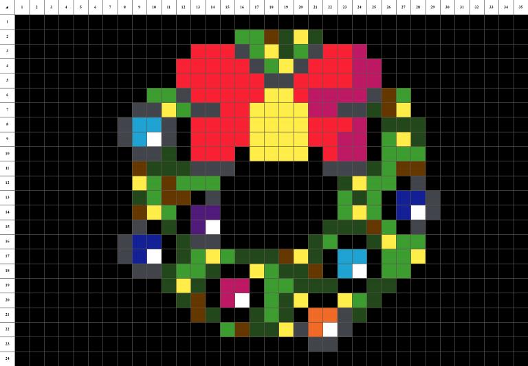 Couronne Noel pixel art grille fond noir
