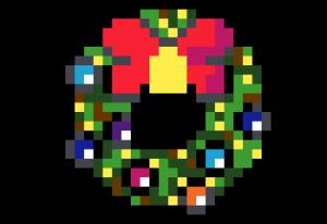 Couronne Noel pixel art vignette fond noir
