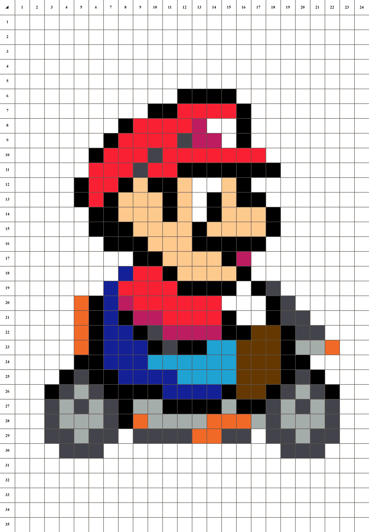 Mario Modele Dessin Pixel Facile