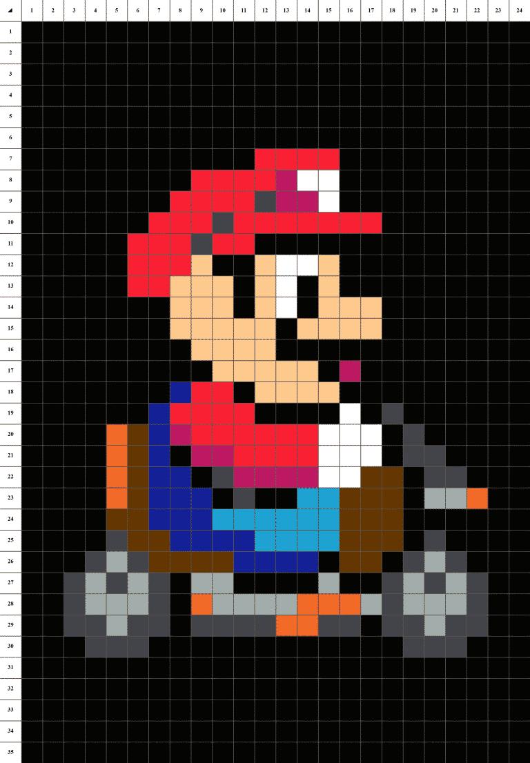 Mario Kart pixel art grille fond noir