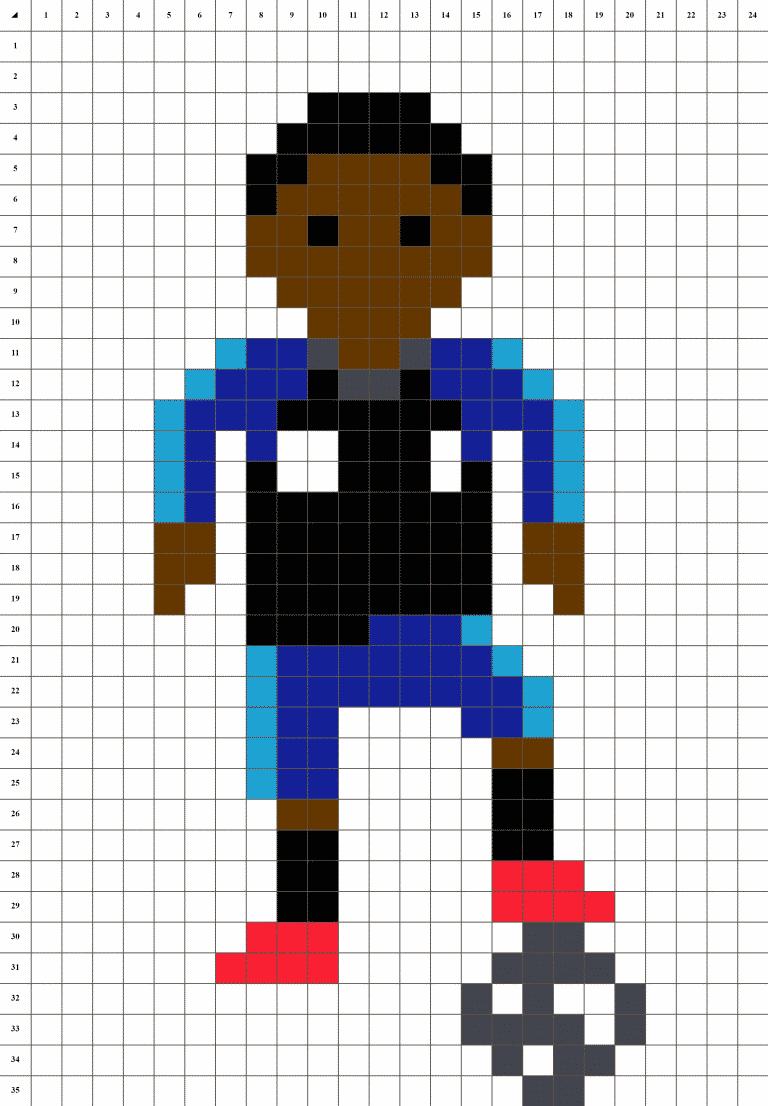 Mbappe Pixel art grille fond blanc