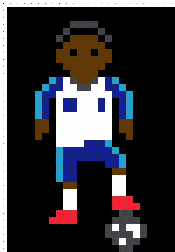 Mbappe Pixel art grille fond noir
