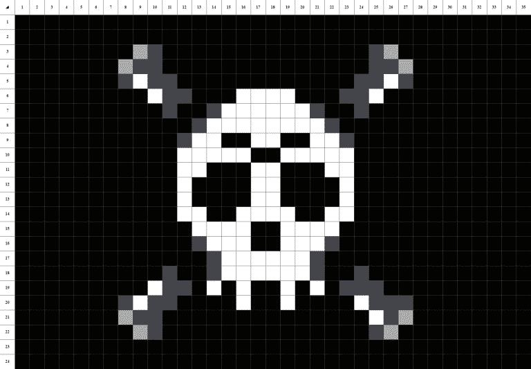Drapeau pirate pixel art grille fond noir
