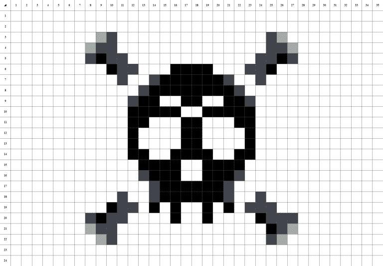 Drapeau pirate pixel art grille fond blanc