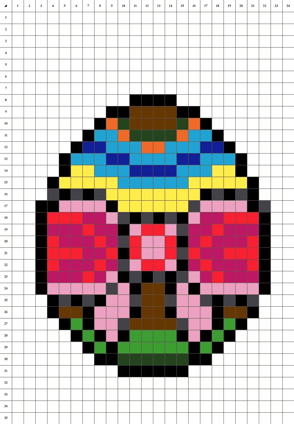 pixel art d'un oeuf de paques sur fond blanc