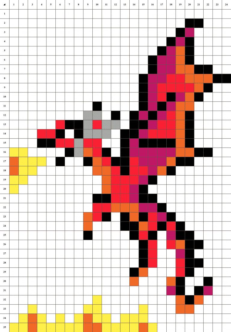 Dragon pixel art grille fond blanc
