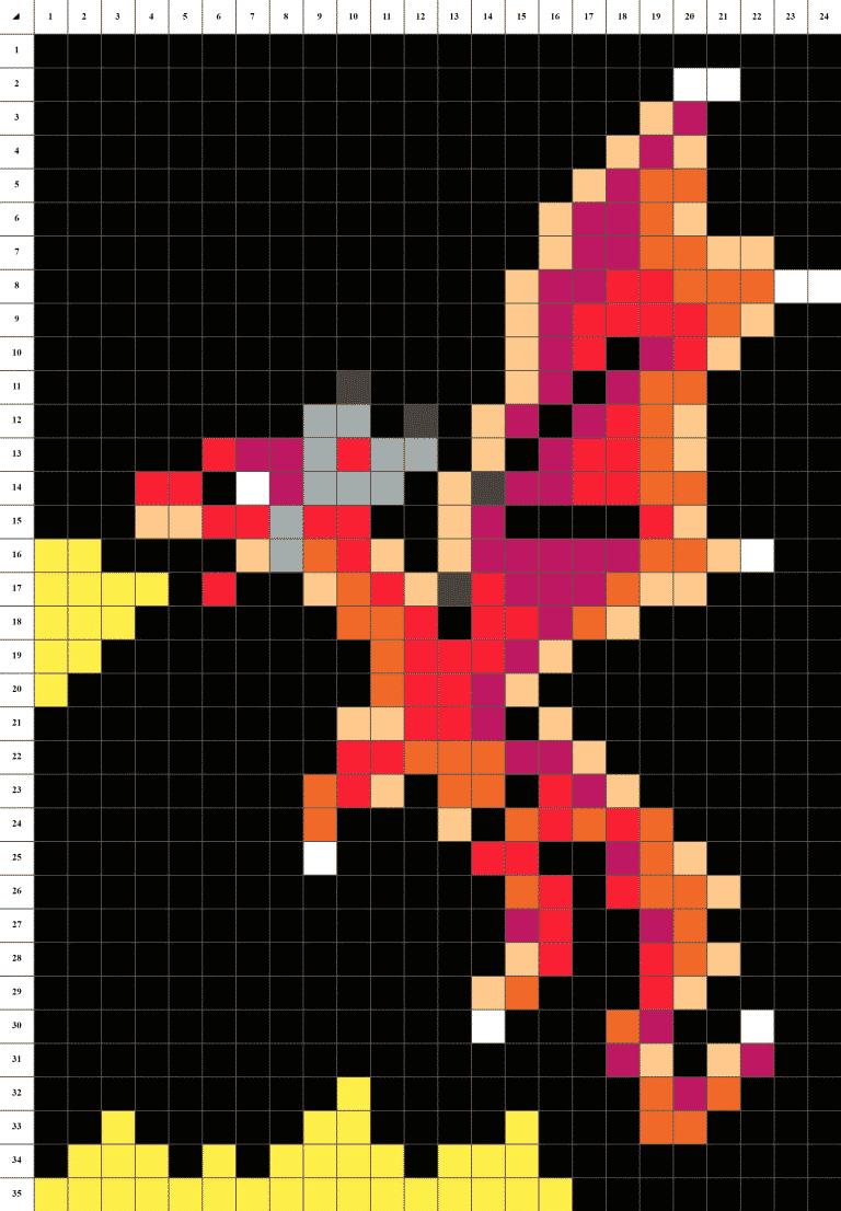 Dragon pixel art grille fond noir