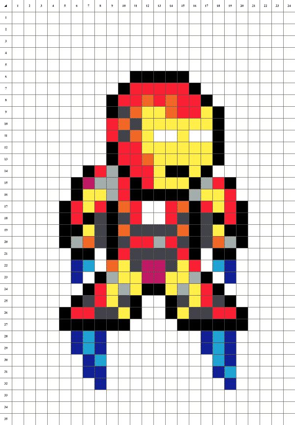 Pixel art de Iron Man sur fond blanc