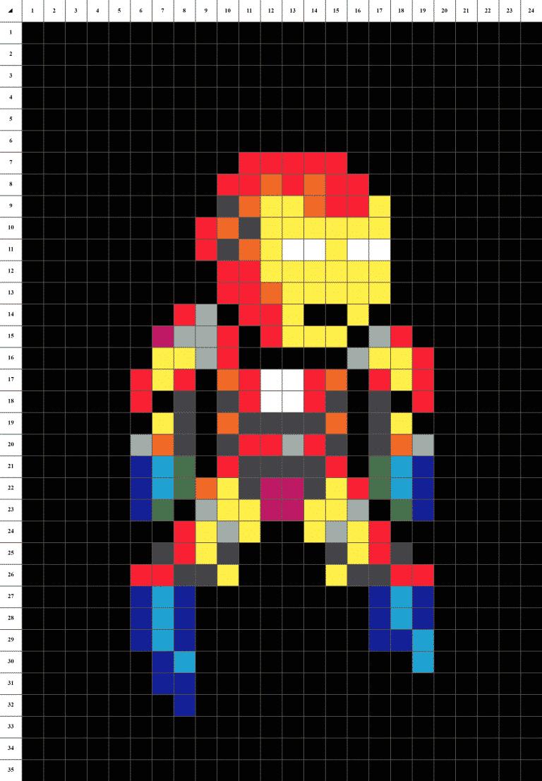 Iron Man Avengers Pixel art grille fond noir