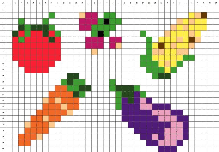Légumes pixel art grille fond blanc