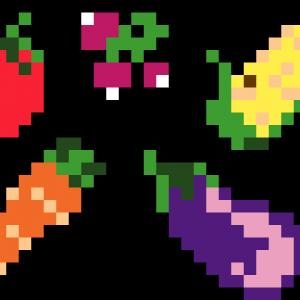 Légumes-pixel-art-vignette-fond-noir