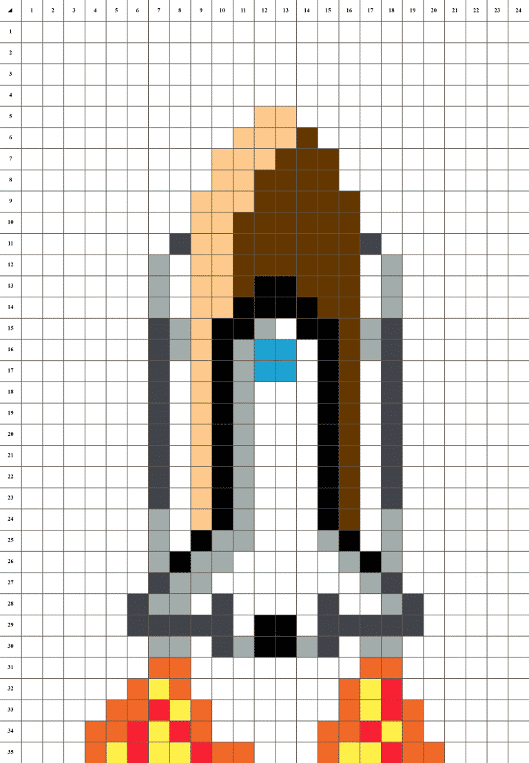 Navette spatiale pixel art - grille fond blanc