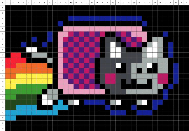 Nyan Cat pixel art grille fond noir