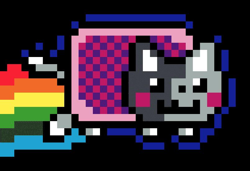Nyan Cat pixel art vignette fond noir