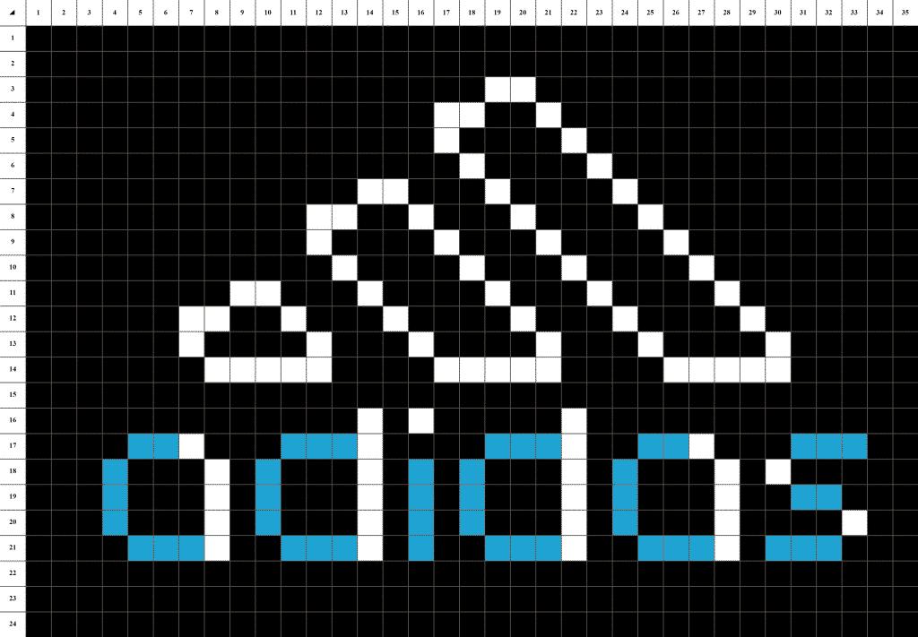 adidas pixel art grille fond noir
