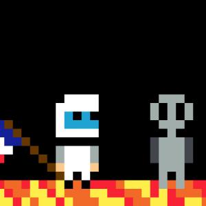 Astronaute et alien pixel art mosaique vignette fond noir