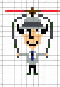 Inspecteur Gadget Pixel Art mosaique grille fond blanc
