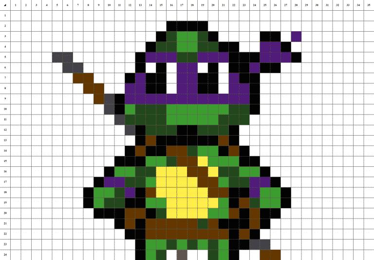 Tortue Ninja Donatello Pixel Art mosaique grille fond blanc