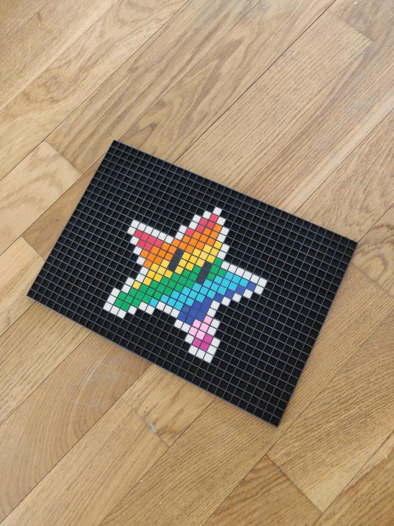 etoile arc en ciel pixel art mosaique photo
