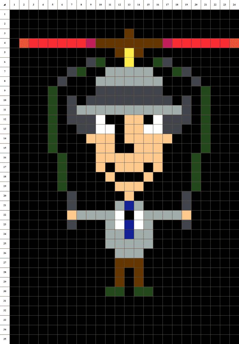 Inspecteur Gadget Pixel Art mosaique grille fond noir