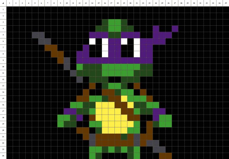 Tortue Ninja Donatello Pixel Art mosaique grille fond noir