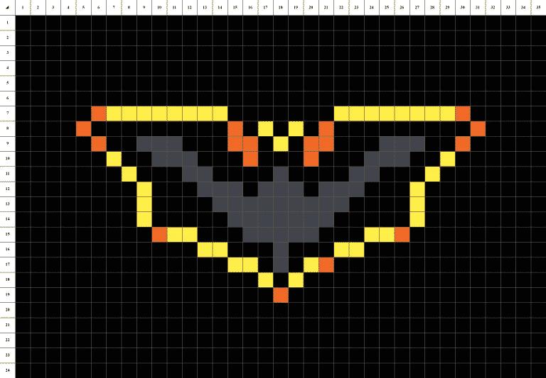 symbole batman pixel art mosaique grille fond noir