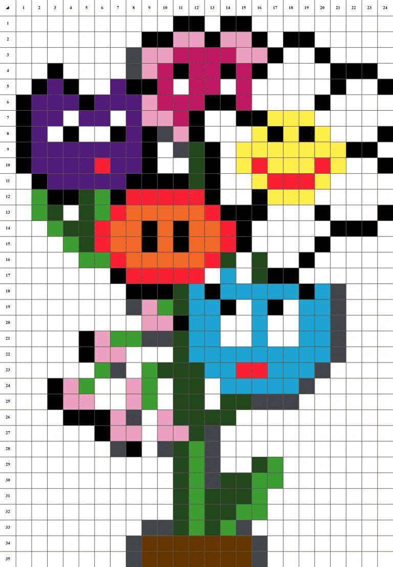 Bouquet fleurs pixel art mosaique grille fond blanc