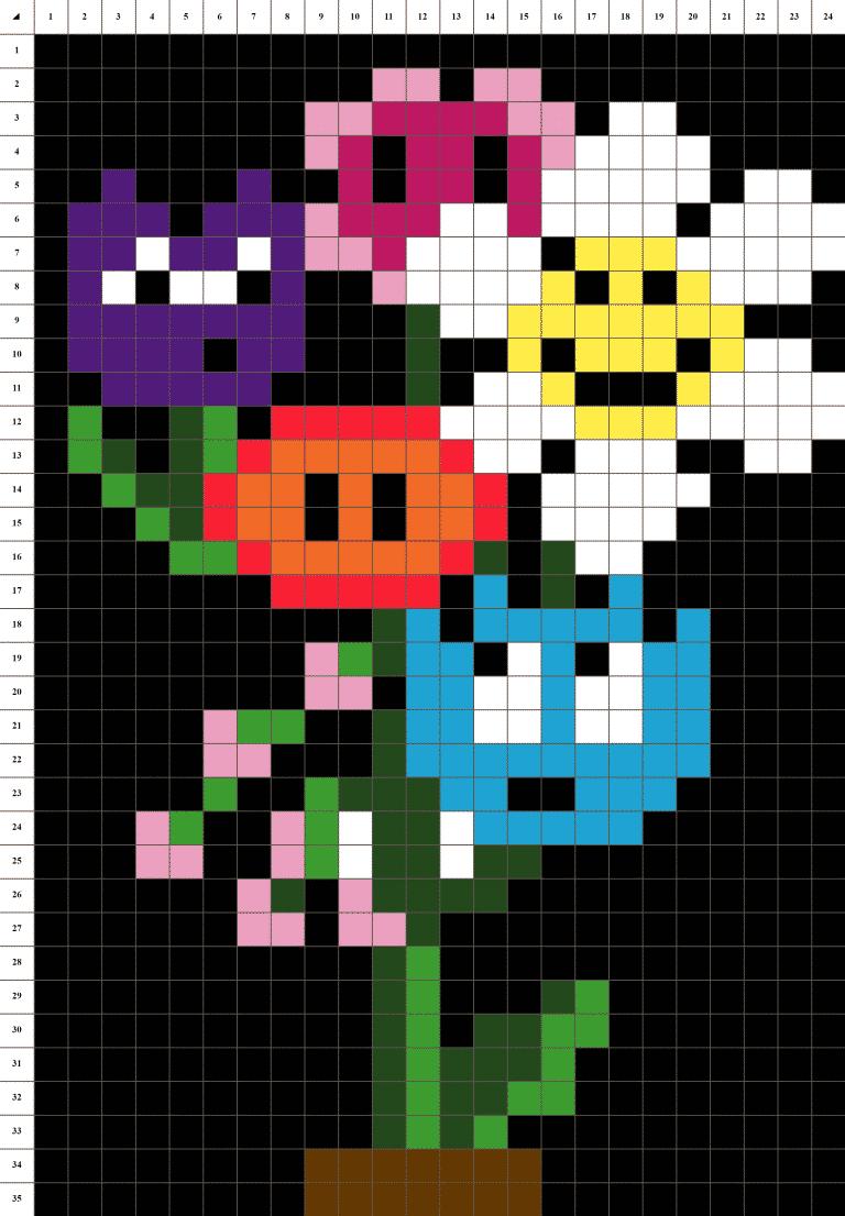 Bouquet fleurs pixel art mosaique grille fond noir