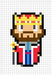 Roi pixel art grille fond blanc