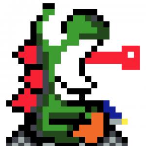 Yoshi Mario Kart pixel art vignette fond blanc