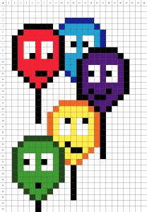 Ballons pixel art mosaique grille fond blanc