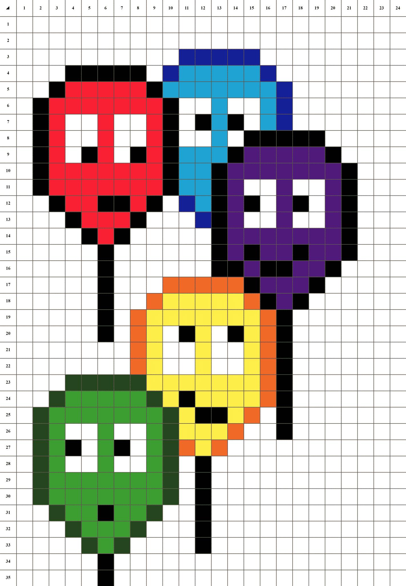 Modèle Pixel Art Multicolore