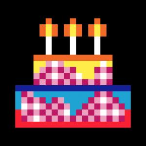 Gateau d'anniversaire pixel art mosaique vignette fond noir