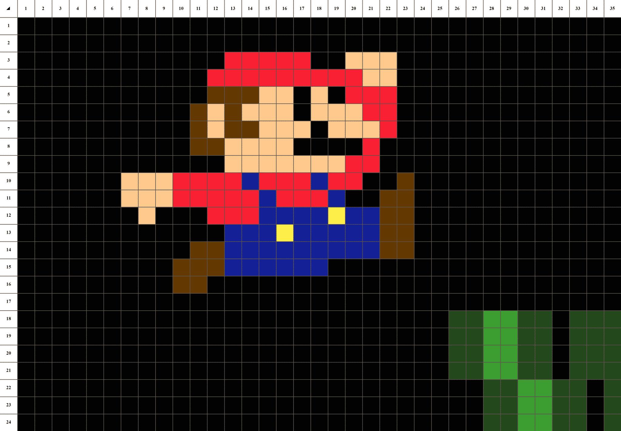 Mario nintendo pixel art mosaique grille fond noir