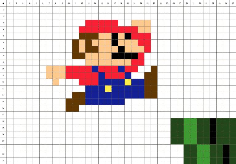 Mario nintendo pixel art mosaique grille fond blanc