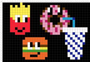 Burger frite pixel art grille fond noir