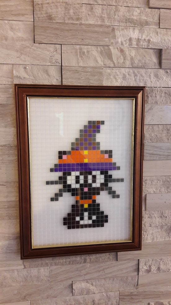 Chat d'Halloween pixel art photo 2