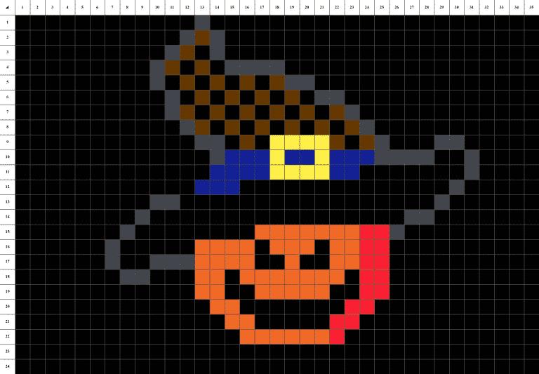 Citrouille Halloween Pixel Art grille fond noir