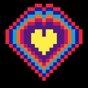 Coeur Mandala Pixel Art vignette fond noir