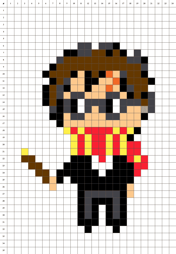 Harry potter pixel art grille fond blanc