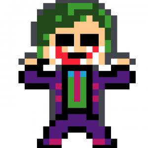 Joker Batman pixel art mosaique vignette fond blanc