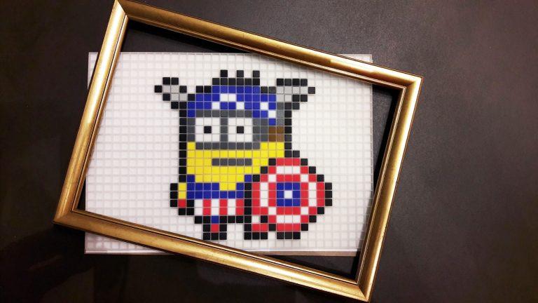 Minion Captain America Pixel Art photo 1